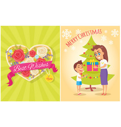 Best wishes for you merry christmas postcard heart vector