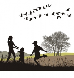 children in the autumn country vector image vector image