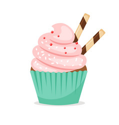 chocolate muffin with pink frosting vector image