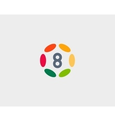 Color number 8 logo icon design hub frame vector