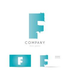f blue letter alphabet logo icon design vector image