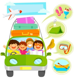 family vacation cartoons set vector image vector image