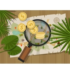 find treasure hunt money map vector image