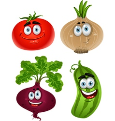 Funny cartoon cute vegetables tomato beet cucumber vector