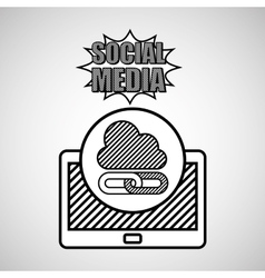 hand drawing cloud link social media mobile vector image vector image