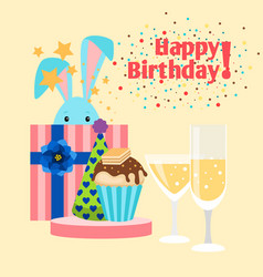 happy birthday card with rabbit vector image