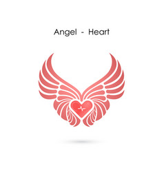 Heart logo with angel wings logo design vector