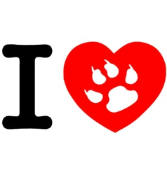 I love my dog heart vector image vector image