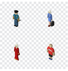 Isometric human set of female guy hostess and vector