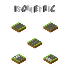 Isometric road set of footpassenger strip down vector