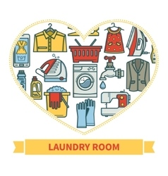 Linear icons laundry vector