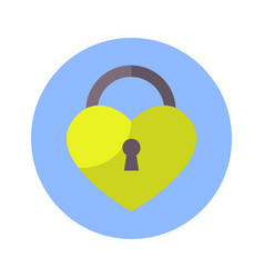 lock in heart shape icon on blue round background vector image