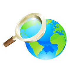 magnifying glass world earth globe concept vector image vector image