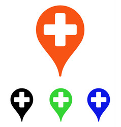 Medical map marker flat icon vector