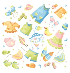 Set of baby clothing and accessories vector