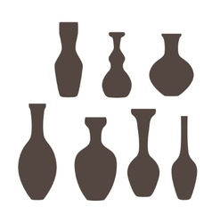 Set of vase icon in gray colors vector image