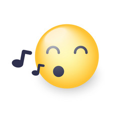 singing smiley face emoji whistles a song vector image