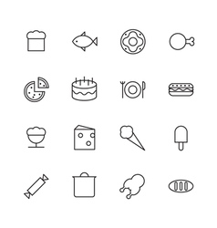 Thin line icons for food vector
