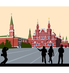 Tourists walk on Red Square vector image vector image