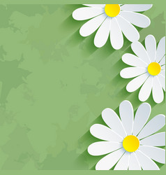 Vintage floral green background with flower vector image