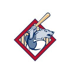 Wild dog or wolf playing baseball batting bat vector image vector image