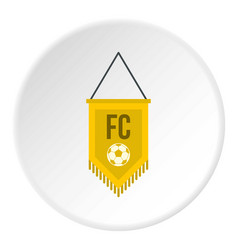 Yellow pennant with soccer ball icon circle vector