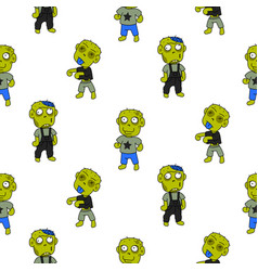 Zombie cute cartoon kid seamless pattern vector