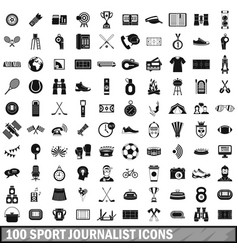 100 sport journalist icons set simple style vector
