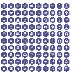 100 success icons hexagon purple vector image vector image