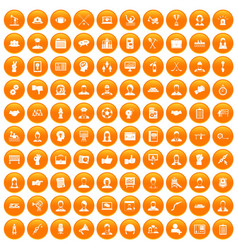 100 team work icons set orange vector image