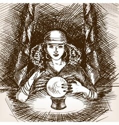 Medium woman with crystal magic ball sketch vector