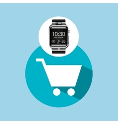 smart watch on hand- shopping cart vector image