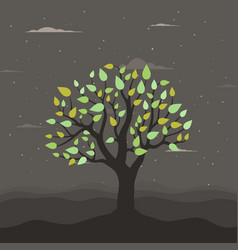 Tree at night vector