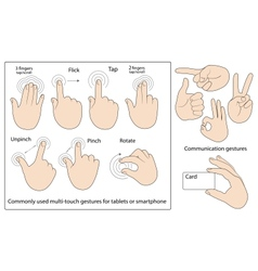 Commonly used gestures vector image