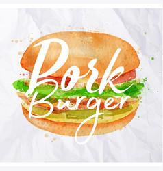 Pork burger watercolor vector