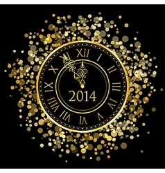 2014 - shiny New Year Clock vector image