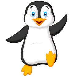 Cute penguin cartoon waving vector