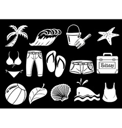 Things used during summer vector