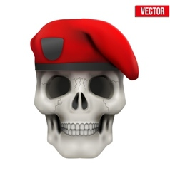 Human skull with military maroon beret vector
