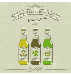 Card for st patricks day with three bottles of bee vector