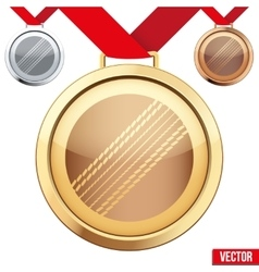 Gold medal with the symbol of a cricket inside vector