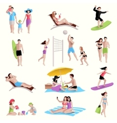 People on beach icons vector
