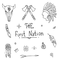 Native american style sketch icon set vector