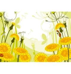 postcard with dandelions vector image