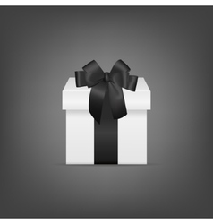 White square gift box with black ribbon and bow vector