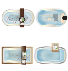 Bathtub top view set 1 vector