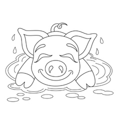 Piggy resting on water puddle coloring book page vector