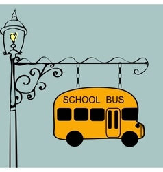 Vintage sign school bus stop vector