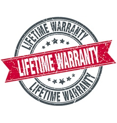 Lifetime warranty red round grunge vintage ribbon vector