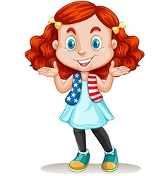 American girl with red hair vector